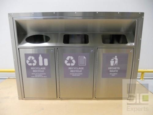 Poubelle recyclage acier inox SIC32811