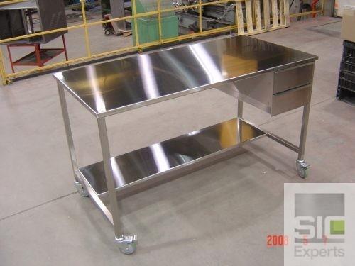 Table inox avec tiroirs SIC22904