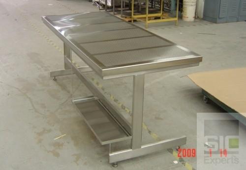 Table laboratoire dessus perforé